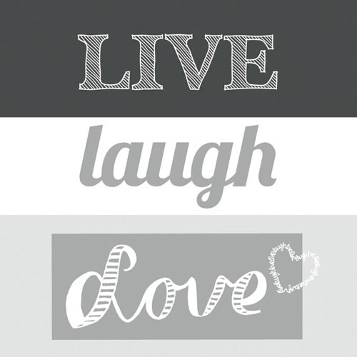 Papierservietten Live Laugh Love grey 33x33